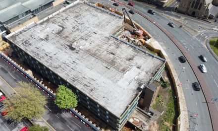 Demolition view from above as Market Hall multi-storey car park comes down
