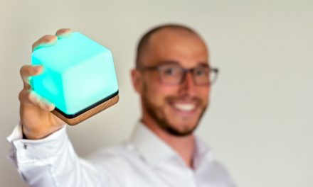 Former teacher Michael Crinnion and his amazing Luma³ cube which can help ease mental health problems
