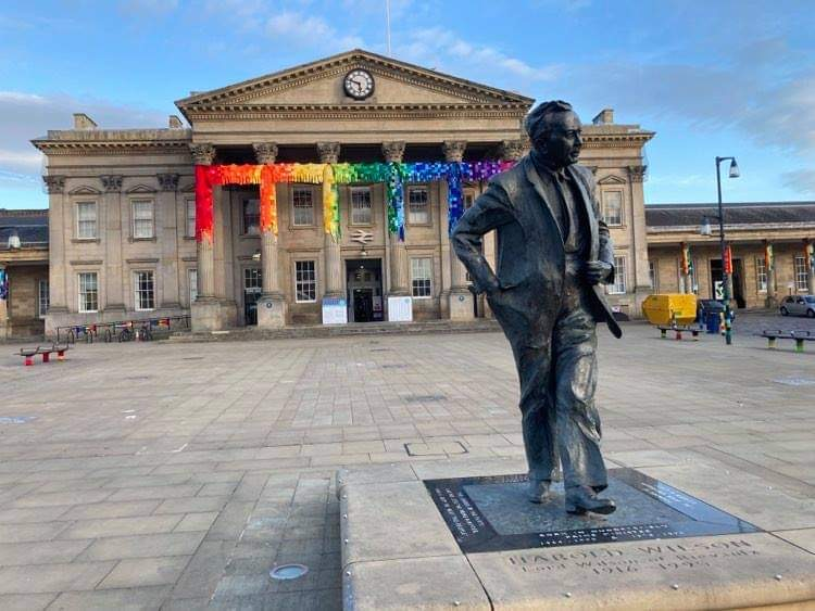 It's behind you, Harold! Huddersfield Railway Station has been yarn-bombed for the WOVEN festival