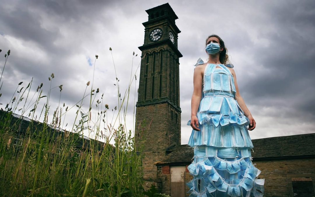 Upcycle designer's amazing dress made from disposable face masks