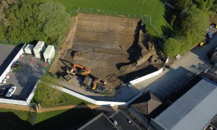 Drone image shows scale of extension works at King James's School as project remains on target